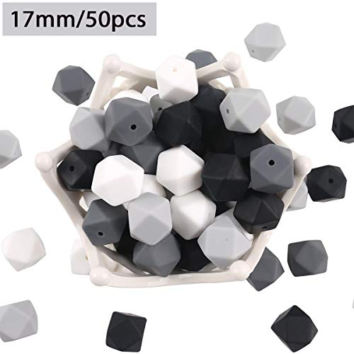 HAO JIE Black White Silicone Teether Beads 50pc 17mm Hexagon Teething Balls 100%Food Grade Nursing Jewelry Chewing Beads