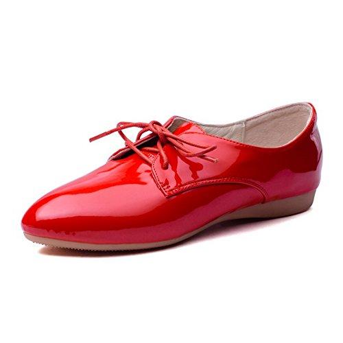 Odomolor Damen Schnüren Spitz Zehe Niedriger Absatz Rein Pumps Schuhe, Rot, 40