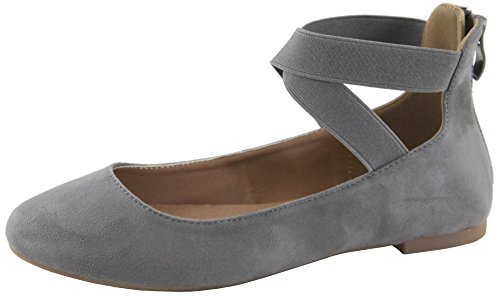 Cambridge Select Women's Closed Round Toe Stretch Elastic Crisscross Ankle Strap Back Zip Ballet Flat (8.5 B(M) US, Grey - Stretch Ballet Flat