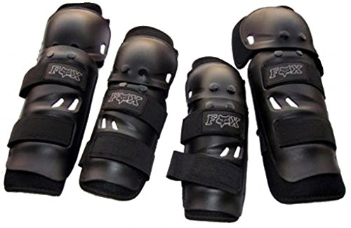 Premium Quality Fox Motorcycle Riding Knee and Elbow Guard (Black, Set of 4)