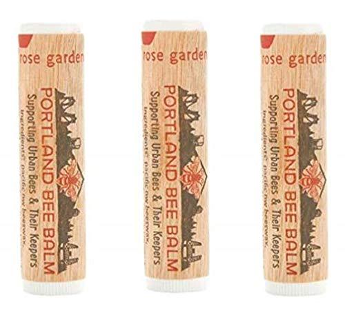 Portland Bee Balm All Natural Handmade Beeswax Based Lip Balm, Rose Garden 3 Tube Pack