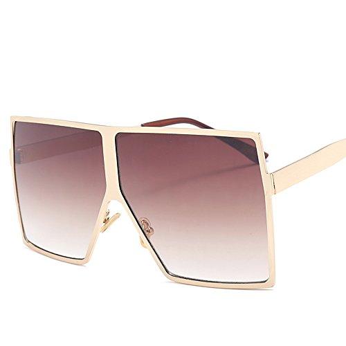 Uv Bastidor Marrón gradient Cuadrado Para Oro Gafas TIANLIANG04 Plata De Mujer400 De Gafas Sol brown Macho Hombres Grande En Enormes Sol Negro Unas Degradado Metal xqYqwC1H