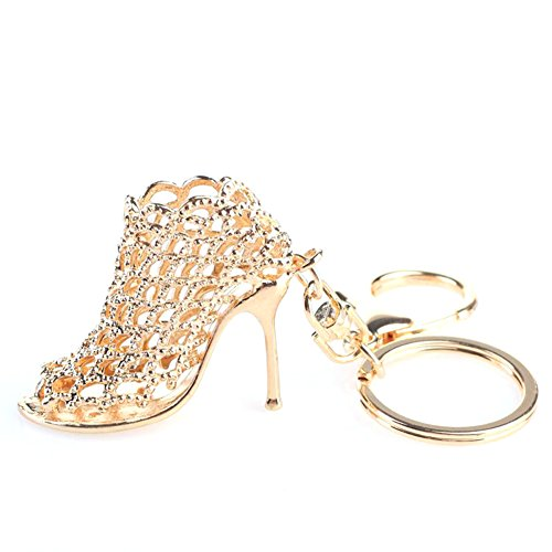 Shaped Shoe Clips - Zeroyoyo Chic Crystal Shoe High Heel Shaped Pendant Keyring Clip Gold Keychain