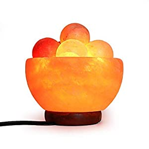 Himalayan Fire Bowl Salt Lamp with 6 Massage Balls Premium Quality Authentic from Pakistan