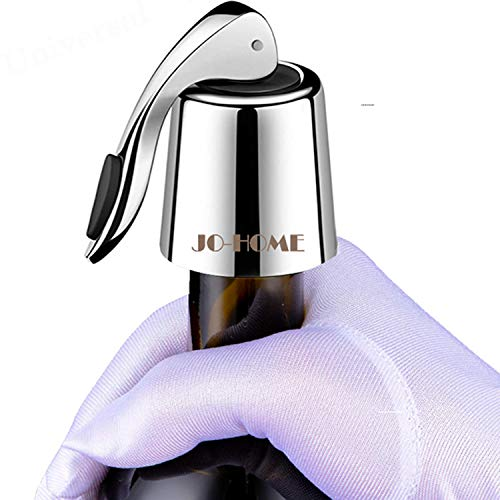 JO-HOME QRQW-09 Champagne Stoppers-Reusable Saver, Bottle Sealer Keeps Fresh, Indispensable Wine Accessories, S Silver
