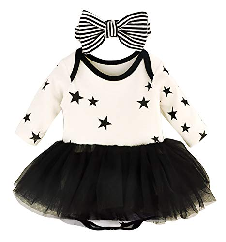 Baby Girl Tutu Dresses Headbands, Cute Newborn Infant Toddler Kids 0-3 6-9 12-18 24 Months Romper Long Sleeve Clothes, Gift Set for Birthday Christmas Coming Home Outfits Jumpsuit (605,Black,3M)