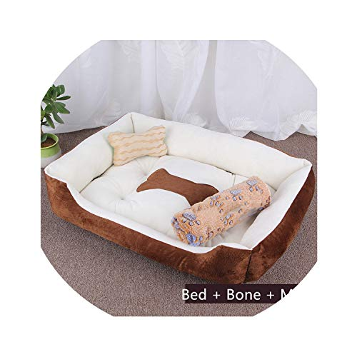 Warm Pets Beds Sofas with Mats Pillows Winter Autumn Cat Dog Bed House Cotton Soft Breathable Solid Blanket Pets Kennel,J Bed Bone Mat,Xs 50X38X15Cm