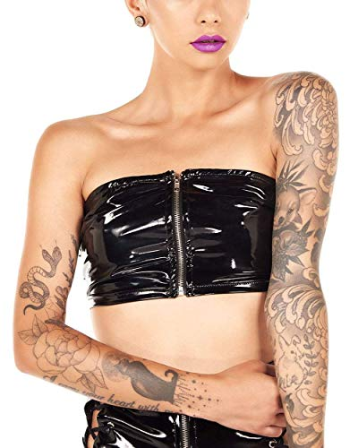(iHeartRaves Black Into The Shadows Zip Front Vinyl Tube Top)
