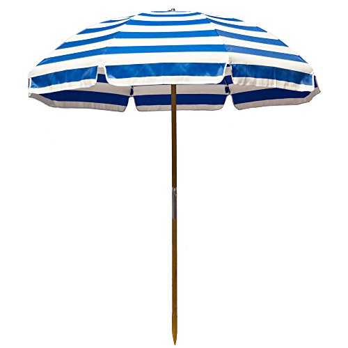 6.5' Shade Star Beach Umbrella Color: Pacific Blue / White Stripe
