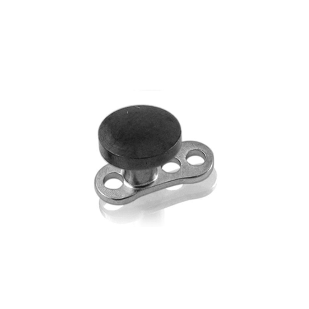 2MM Steel Black Disc Dermal Anchor Piercing - 316L Surgical Steel Top with G23 Titanium Base Dermal Anchor Jewelry