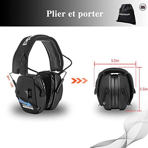 PROHEAR 036 [Mise à Niveau] Casque Anti Bruit de Tir Electronique Silicone Coussinets d'oreille Remplaçable,SNR 28dB… 7