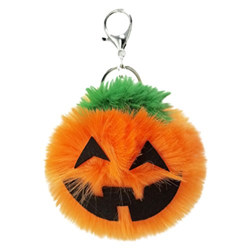LUOEM Halloween Pumpkin Key Chain Plush Key Ring Pendant Souvenir Jack O Lantern Pumpkin Halloween Party Favor for Car Hanging Decoration for $<!--$8.96-->
