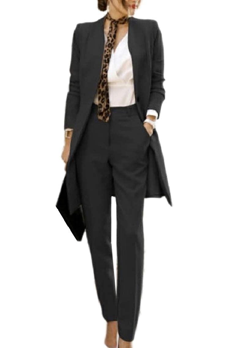 Fseason-Women Comfort Smocked Waist Blazer Jacket Coat Pant 2 Piece Set Suit