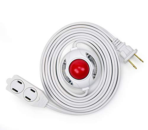Electes 8 Feet 3 Outlet Extension Cord with Hand/Foot Switch and Light Indicator with Safety Twist-Lock, 16/2, White - UL Listed