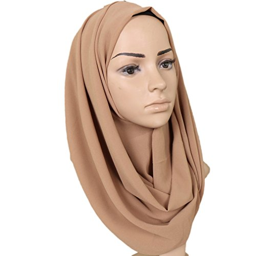LMVERNA Lightweight Chiffon Scarf Solid Color Thick Chiffon Muslim Hijab Long Scarf wrap Scarves (Nude)