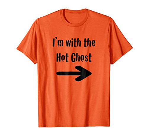 Mens Fun Girls, Men, Singles Halloween I'm with Hot Ghost Shirt Small Orange