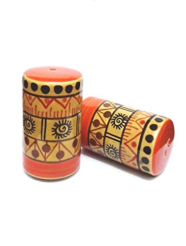Indeasia Srijan Handcrafted & Hand painted Salt & Pepper Set Of Two, Lead Free, Microwave proof With Geometrical Design On Orange Base by Indeasia Srijan