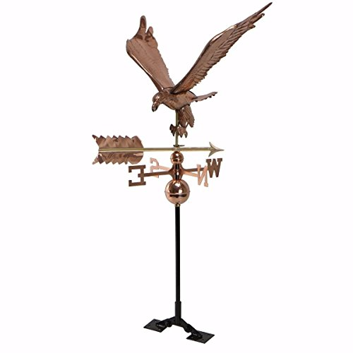 (KCHEX>Copper Polished Eagle Weathervane Weather Vane Roof Bracket Mounting Hardware>This Jumbo weathervane is The Perfect Size for Estate Homes, barns, and Commercial Buildings.)