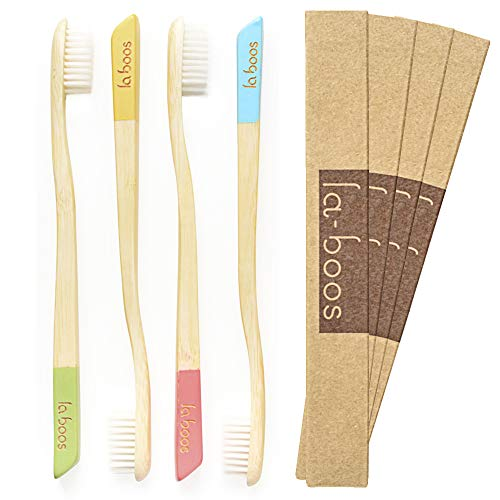 LaBoos Best Nature Manual Color Toothbrush, New Extra Soft Compact Bristle Gum Toothbrush,Best Toothbrush For Gingivitis And Sensitive teeth,Pack of 4.