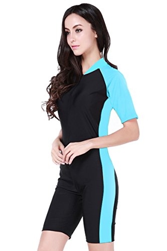 Short Sleeve One Piece Swimsuit Plus Size,Light Blue-Women, Asian L ='' US M