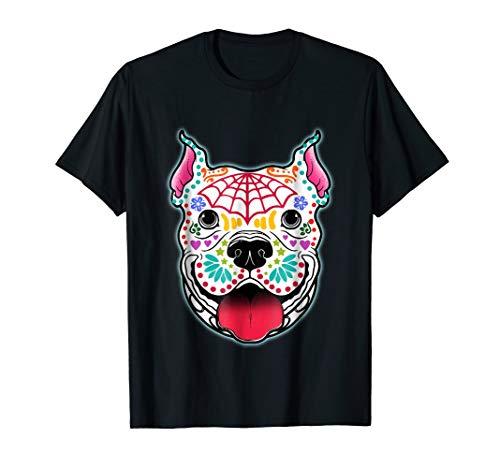 Day of the Dead Pit bull Skeleton T-shirt Dog Skull -