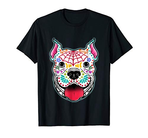 Day of the Dead Pit bull Skeleton T-shirt Dog Skull Shirts -