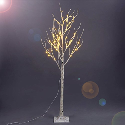 Excelvan Safe 72 LEDs 1.5M/5FT Silver Warm White Xmas Led Birch Twig Lighted Branches Tree for Home Bedroom Patio Garden Gate Yard Party Wedding Christmas Inside Outdoor Decoration