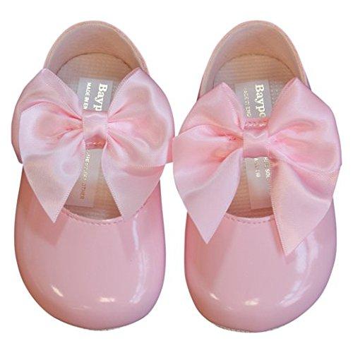 BAYPODS Baby Girl Shoes Large Bow Christening pram Crib Pink Size 1