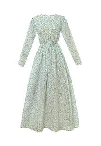 ROLECOS Pioneer Women Costume Floral Prairie Dress Cotton Deluxe Colonial Dress Blue Floral M ()