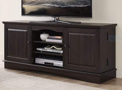 Amazon Com Tv Stands Table Cabinet Espresso Wood For Up To 65 Inch