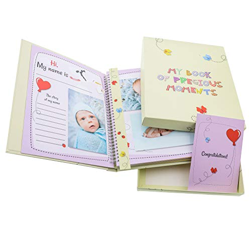Baby Memory Book Photo Album and Keepsake Journal - Scrapbook - for Boys and Girls - Every Family Type, Single Moms, Single Dads - First Year Milestones - First Five Years - Box, Baby Shower Gift Card