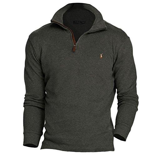 Polo Ralph Lauren Men's Estate Rib Half Zip Sweater, L, Bristol Heather Gray