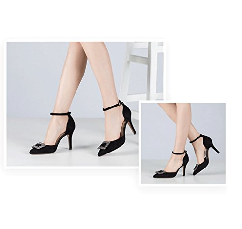 Dream Elegant Shallow Mouth Pointed Stiletto Heel Fashion Retro High Heels Summer Female Comfortable Sandals (Color : Black, Size : 35)