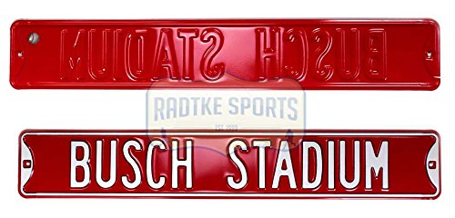 St. Louis Cardinals Busch Stadium Officially Licensed Authentic Steel 36x6 Red & White MLB Street Sign from Authentic Street Signs