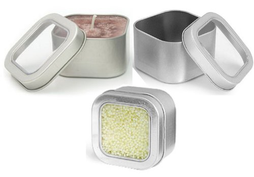 Square Metal Tins w/Clear Top Lid Covers 4 oz & 8 oz by MagnaKoys (1, 3.15