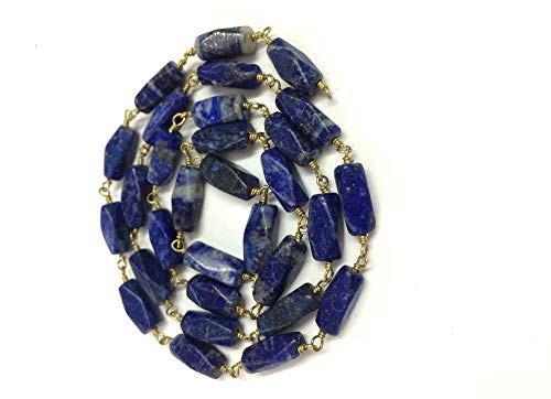 (15 Feet Lapis Lazuli Faceted Rectangle Shape Beads, Lapis Wire Wrapped Rosary Link Chain Connector, Lapis Loose Gemstone Necklace Jewelry by LadoNarayani)