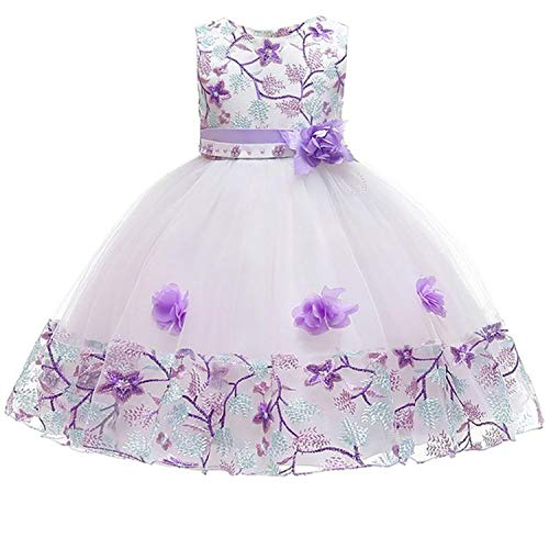 Summer Party Princess Dress Girl Wedding Costume Kids Dresses for Girls Bridesmaid Tutu Dresss,Purple1,8 ()