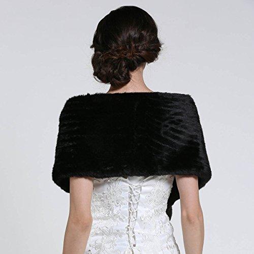 Aukmla Women's Faux Fur Shawls and Wraps Bridal Wedding Stole (Black) by Aukmla (Image #4)