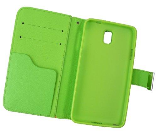 Emartbuy® Samsung Galaxy Note 3 De Escritorio Caja De La Carpeta Del Soporte De Lujo / Cubierta / Carcasa Bloques Verde / Naranja / Blanco Con Ranuras Para Tarjetas De Crédito