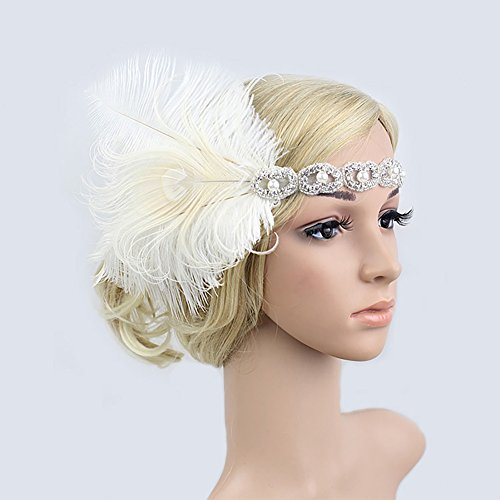 Vintage Blue Black Gold Beaded Pearl Peacock Feather 20s Headpiece 1920s Flapper Headband Roaring 20s Inspired Hairband (White)]()