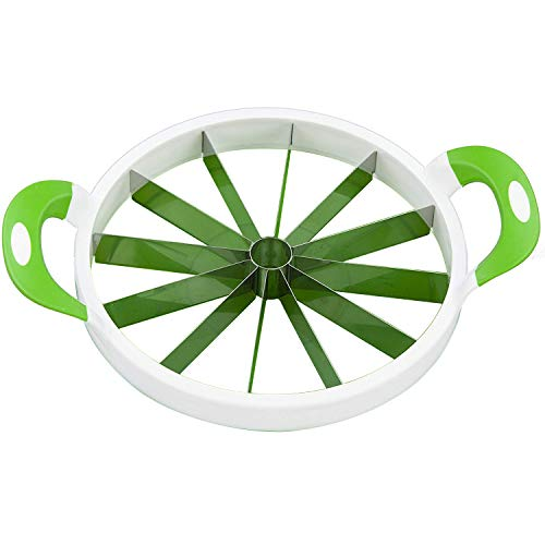 Large Watermelon Slicer with Comfort Silicone Handle,Home Stainless Steel Fruit Slicer Cutter Peeler Corer Server for Cantaloup Melon,Pineapple,Honeydew (White)