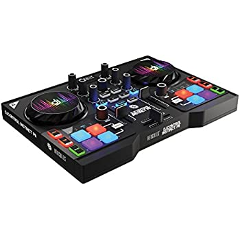 HERCULES INSTINCT P8 PARTY PACK ultra-mobile USB DJ Controller with Audio Outputs for use with your Headphones and your Speakers + eight light (LED) wristbands