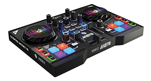 HERCULES INSTINCT P8 PARTY PACK ultra-mobile USB DJ Controller with Audio Outputs for use with your Headphones and your Speakers + eight light (LED) wristbands (4780870)