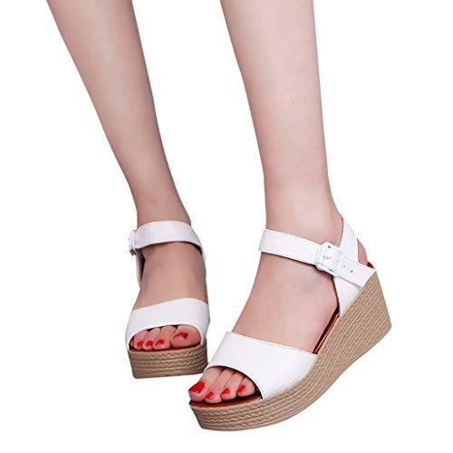 Winwintom Moda Mujer Verano pendiente con Chanclas Sandalias mocasines zapatos Blanco