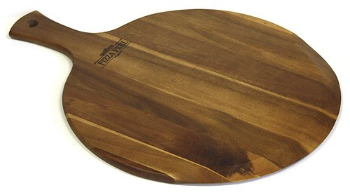 Mountain Woods Brown Large Acacia Wood Pizza Peel/Cutting Board/Serving Tray | Paddle Serving Boards with Handle for Pizzas Bread Baking, Fruits, Vegetables, Cheese - 21.25' x 16' x 0.625'