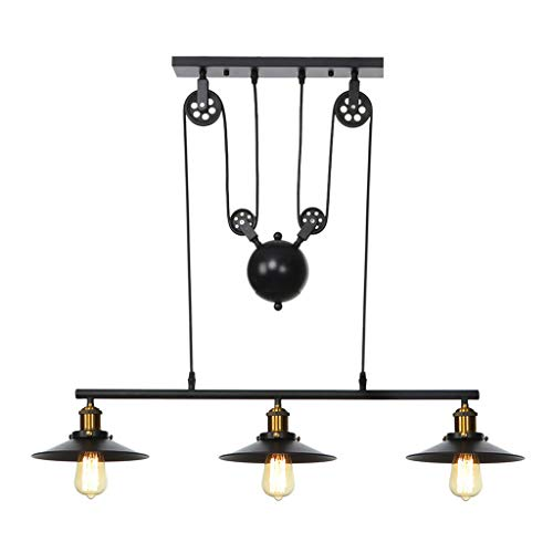 Hellofishly Iron Hill Three-Light Celling Light,Creative Light Lndoor Lsland Pulley Pendant Chandelier Black