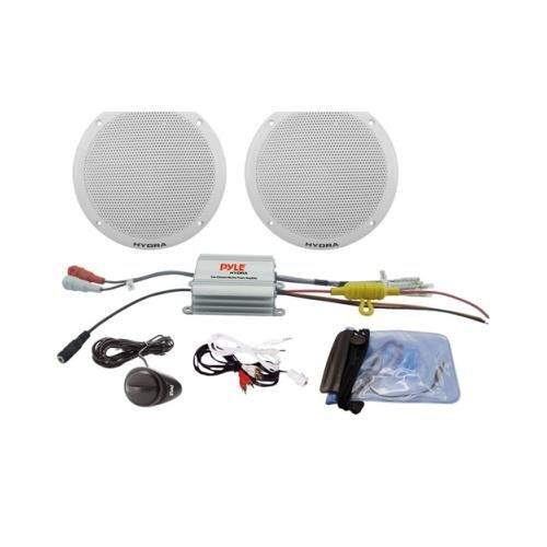 "Pair Pyle Plmrkt2a Marine 6.5"" Speaker System 2 Ch Amp 200 Watt 6 1/2"""