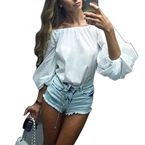 Aliven Women Off The Shoulder Bubble Puff Long Sleeve Tops Blouses (Bubble Puff)
