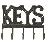 Cast Iron Key Rack Holder Wall Decoration with 5-hooks - KEYS