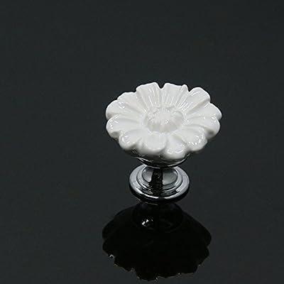 Juego de 12 pomos de cerámica ePro con diseño de crisantemo ...